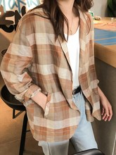 Leisure Loose New Korean Linen 2019 Early Autumn Plaid All Match Long Sleeve Casual Brief Office Ladies Free Blazers oversize