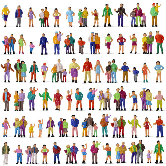 100pcs HO Scale Painted Figures People Model Scale 1:87 Model Train Passengers Assorted Pose 2