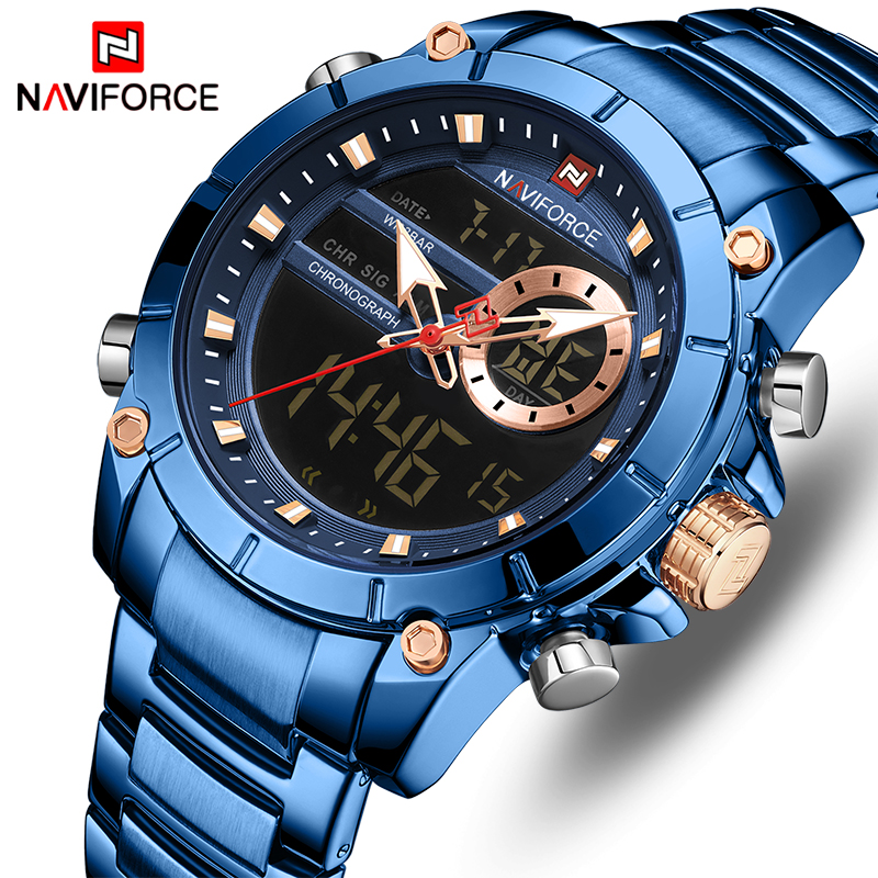 NAVIFORCE Men's Watches Top Brand Army Military Waterproof Sport Watch Men LED Quartz Digital Wrist Watch Male Relogio Masculino-in Quartz Watches from Watches