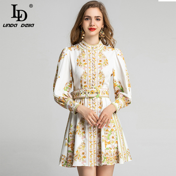 LD LINDA DELLA Spring Fashion Runway Short Dress Women's Long Sleeve Vintage Flower Floral Print Holiday Party Belted Dress