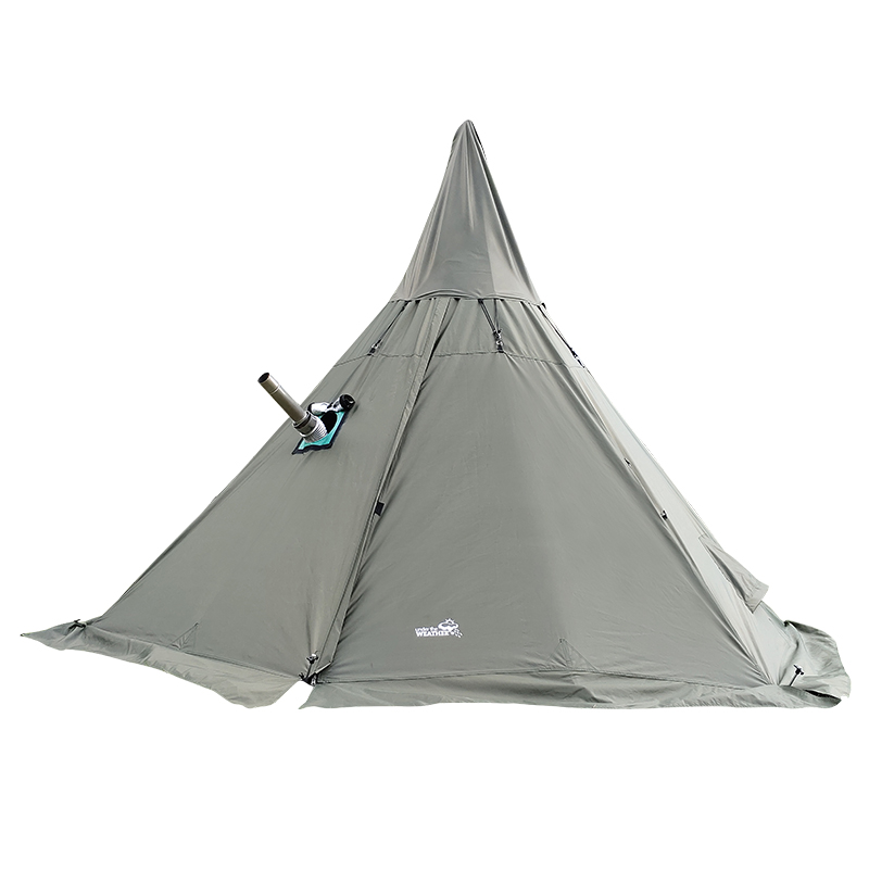 Hexagonal Pyramid Flamming Teepee Shelter <font><b>Tent</b></font> <font><b>Car</b></font> Self Driving Hiking Awning Party Pergola <font><b>Outdoor</b></font> Camping Army Relief <font><b>Tent</b></font> image