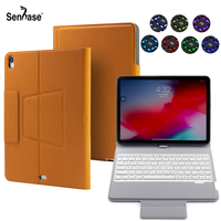 7 Colors Backlit Wireless Bluetooth Keyboard PU Leather Removable Stand Cover For Apple iPad Pro 11 inch 2018 Protective Case