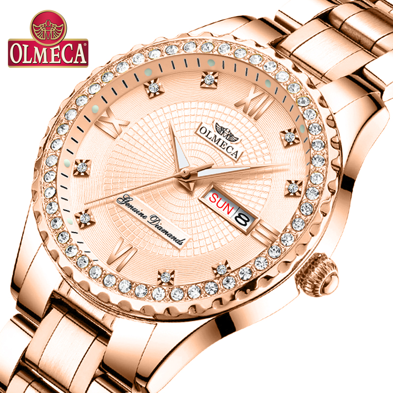 OLMECA Women Wrist Watch Fashion Auto Date Luxury Quartz Watches Relogio Feminino Watches 30M Waterproof Clock Luminous Hands