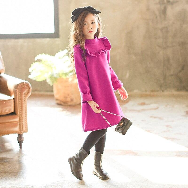 Зимнее платье для девочек коллекция 2019 года, новое осеннее розовое теплое плотное платье в стиле «рафель» модная Корейская одежда с длинными рукавами для подростков школьная одежда для детей возрастом от 4 до 15 лет