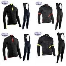 NW Winter Thermal Fleece Long Sleeve Jersey Set Men Team Rid