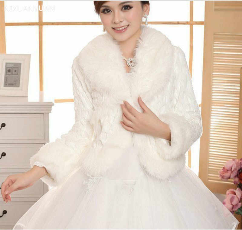 Free Size Ivory Wedding Accessories Faux Fur Winter Wedding Coat Wrap Shrug Bolero Bridal Shawl