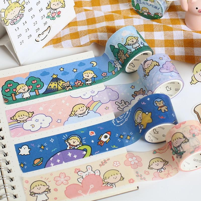 Cute Girl Universe Travel Series Journal Washi Tape DIY Scrapbooking Sticker Label Rainbow Masking Tape School Office Supply