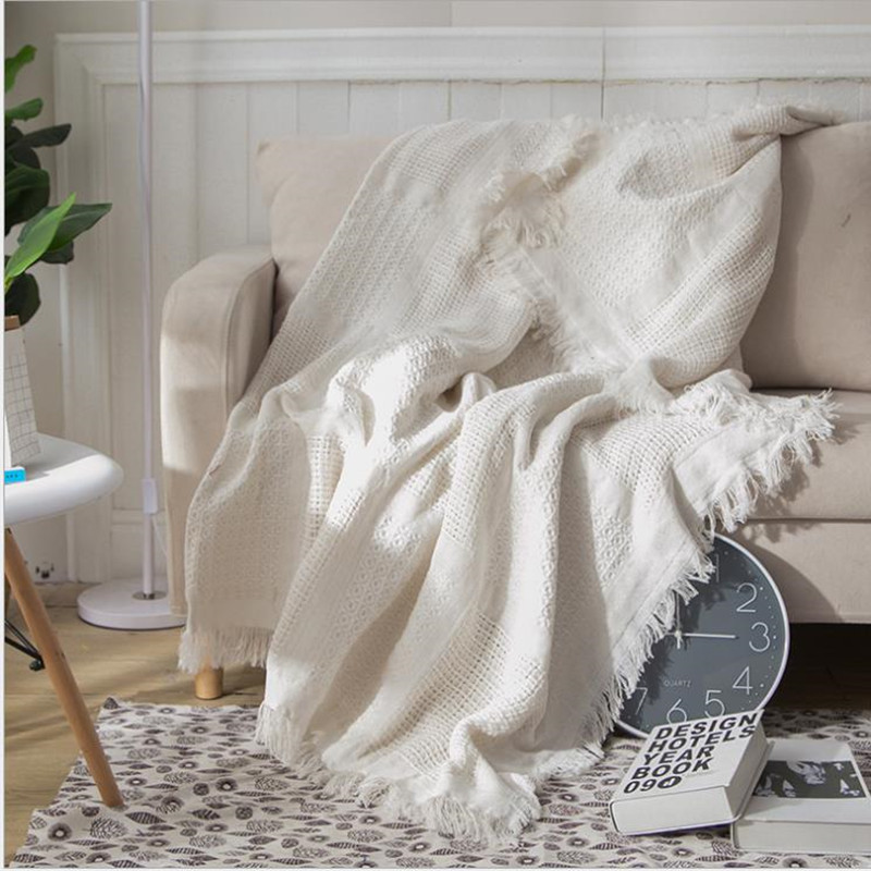 Cutelife White Grid Cotton Knitted Throw Blanket Double-sided Travel Robe Throws Nordic Sofa Bed Living Room Blanket Decorative