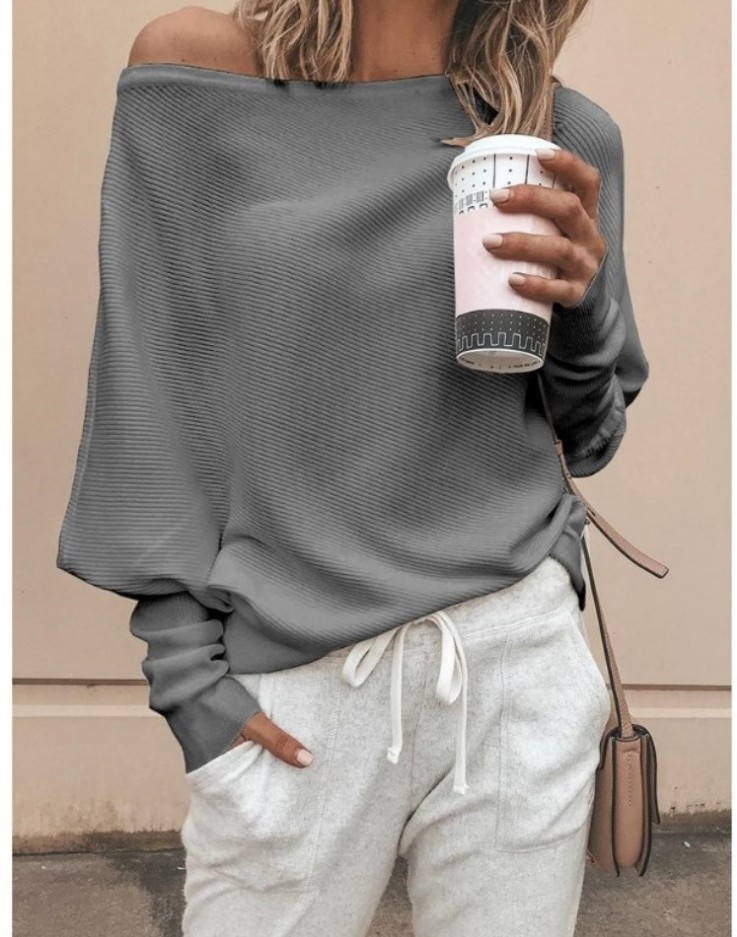 Women Off Shoulder <font><b>Sexy</b></font> Elastic Knitting Pullover Sweater Lady Plus Size S-<font><b>5XL</b></font> Knitwear <font><b>Autumn</b></font> Winter Jumper Pull Femme image