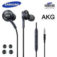 SAMSUNG AKG Наушники с линейным управлением и микрофоном 3,5 мм, проводные наушники, музыкальная гарнитура, Спортивная гарнитура S10 S9 S8, смартфоны