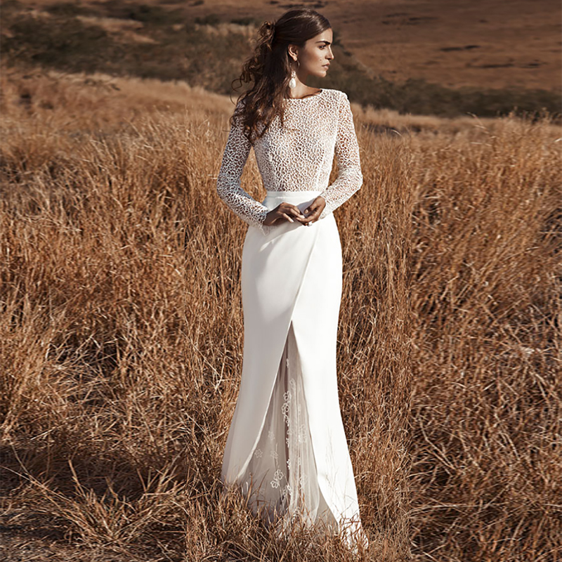 Verngo Mermaid Boho Wedding Dress Long Sleeves Wedding Gowns Lace Flowers Elegant Open Back Bride Dress Robe De Mariee 2020