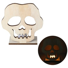 DIY Splicing Halloween Wooden Lamp Wood Sign With LED Candle Light Party Decorations Skull Pumpkin Cat Decor