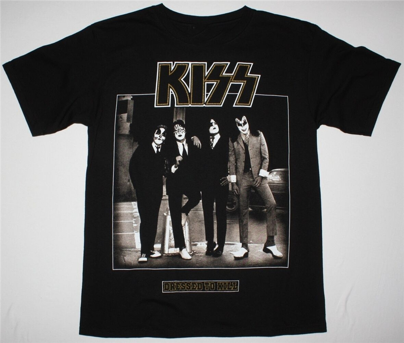KISS <font><b>DRESSED</b></font> TO KILL BLACK <font><b>T</b></font> <font><b>Shirt</b></font> HARD N HEAVY GLAM <font><b>ROCK</b></font> ACE FREHLEY RATT Tee <font><b>Shirt</b></font> Tshirt Tops short-sleeved image