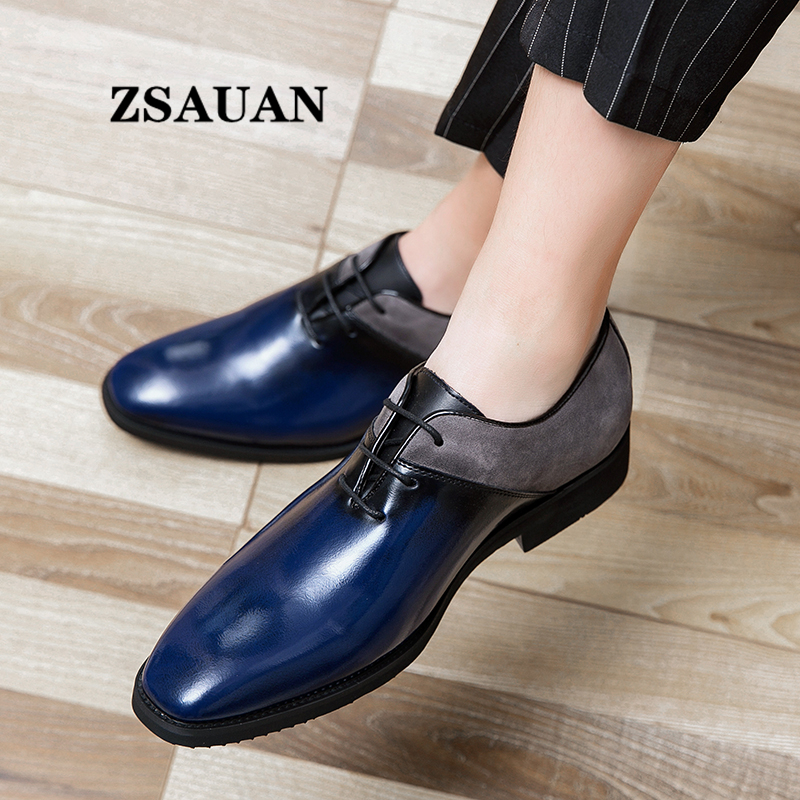 Splicing PU Leather Men Oxford Shoes ZSAUAN Unique New Design Men Dress Shoes Italian Blue Black Men Party Wedding Shoes