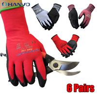 6 Pairs Hot Sale CE CertificatedEN388 Red Polyester PU Work Safety Gloves Frosted nitrile gardening gloves Coating Safety Glove