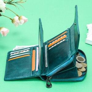 Image 3 - קשר של RFID ארנק עור אמיתי מטבע ארנק קטן ארנקי נשים מחזיק כרטיס רוכסן כסף תיק עבור בנות cartera