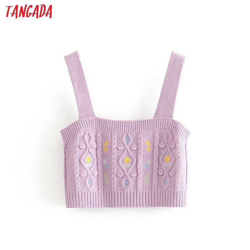 Tangada Women Sexy Embroidery Camis Top Spaghetti Strap Sleeveless Backless Short Blouses Shirts Female Tops 3H312