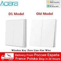 Xiaomi-Interruptor de pared Aqara D1 ZigBee inteligente, inalámbrico, sin cable de fuego, Control remoto, No Neutral, para MiHome