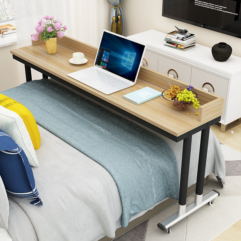 Round Leg Lazy Cross Bed Table Double Multifunctional Computer Desk Notebook Removable Long Table Home Bedside Desk