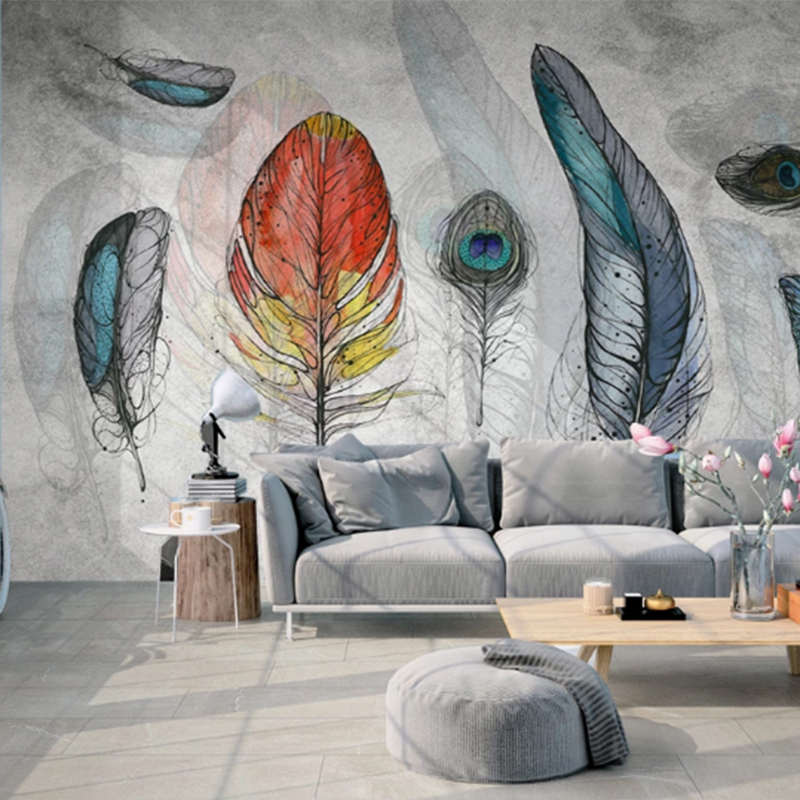 Youe Shone 3D Wallpaper Photo Mural American Simple Fashion Color Hand Painted Feather Texture Art Background Wall ???? papel