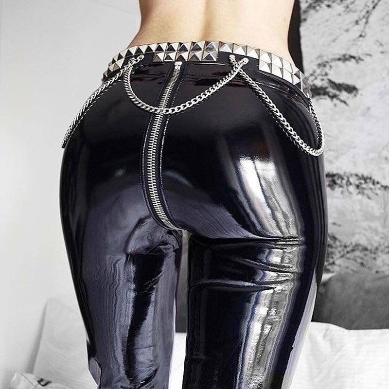 Женские сексуальные блестящие леггинсы из искусственной кожи с задней молнией и эффектом пуш-ап, штаны из искусственной кожи, латексные рез...