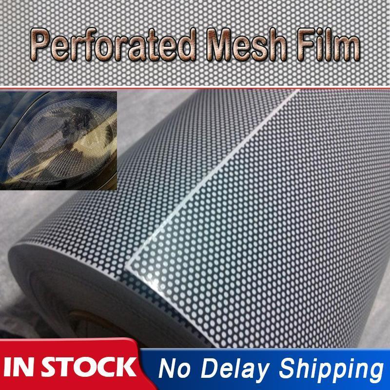 Universal 30x 100CM PVC Perforierte Mesh Hohl Film Auto Scheinwerfer Rücklicht Auto Styling Auto Licht aufkleber