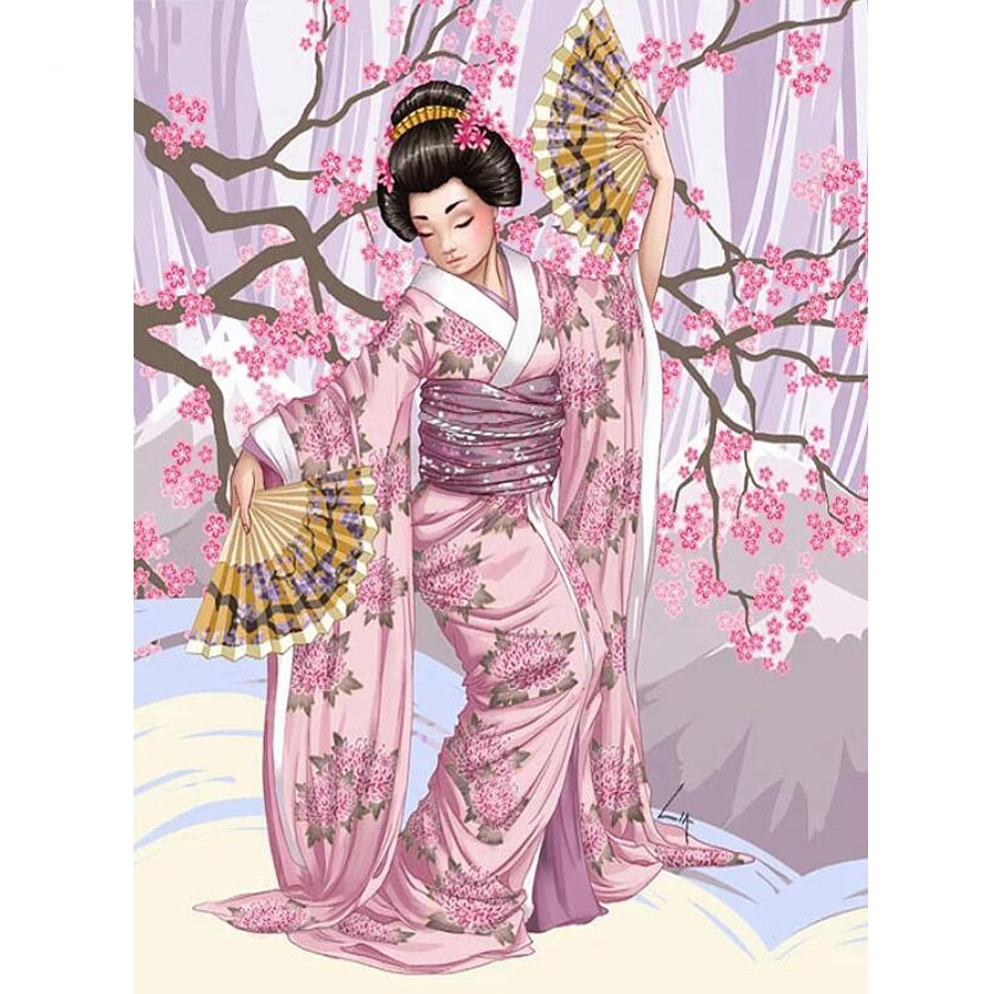 DIY photo custom,3d Diamond Painting Cross Stitch kits 5D Full square Mosaic Diamond Embroidery Japanese kimono woman Home Decor_副本