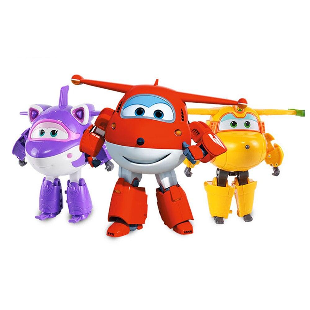 Nova chegada grande 15cm abs super asas deformação avião robô transformação figuras de ação brinquedos para crianças presente