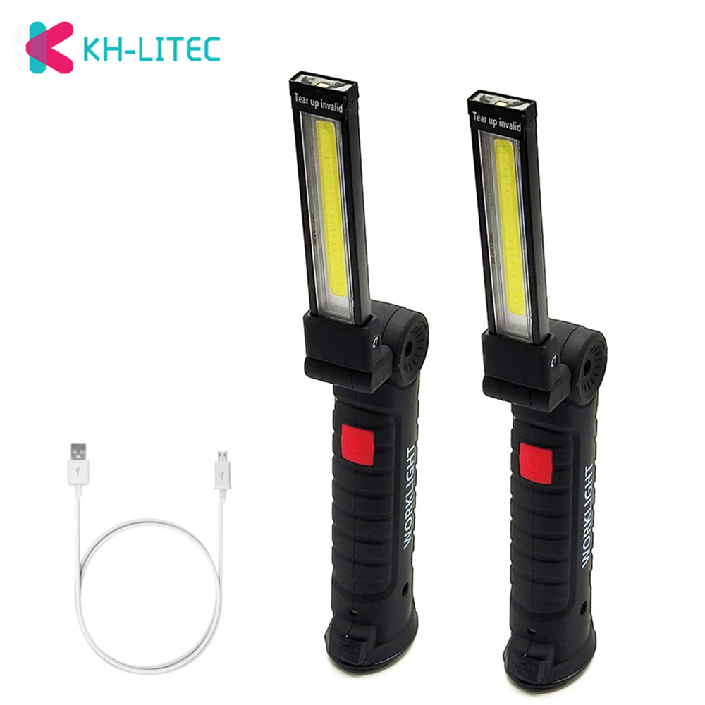 COB LED Work Light USB Rechargeable Work Lights With Magnetic 5 Modes LED Flashlight Inspection Lamp For Car Repair Camping