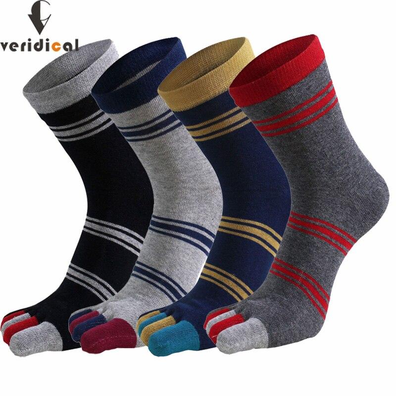 Veridical 5 pares/lote mans meias com dedos do pé meias de algodão cinco dedos listrado curto sólido engraçado weed sox