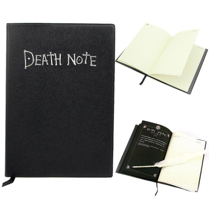 A5 Anime Death Note Notebook Set Leather Journal and Necklace Feather Pen Journal Death Note Pad for Gift D40 6