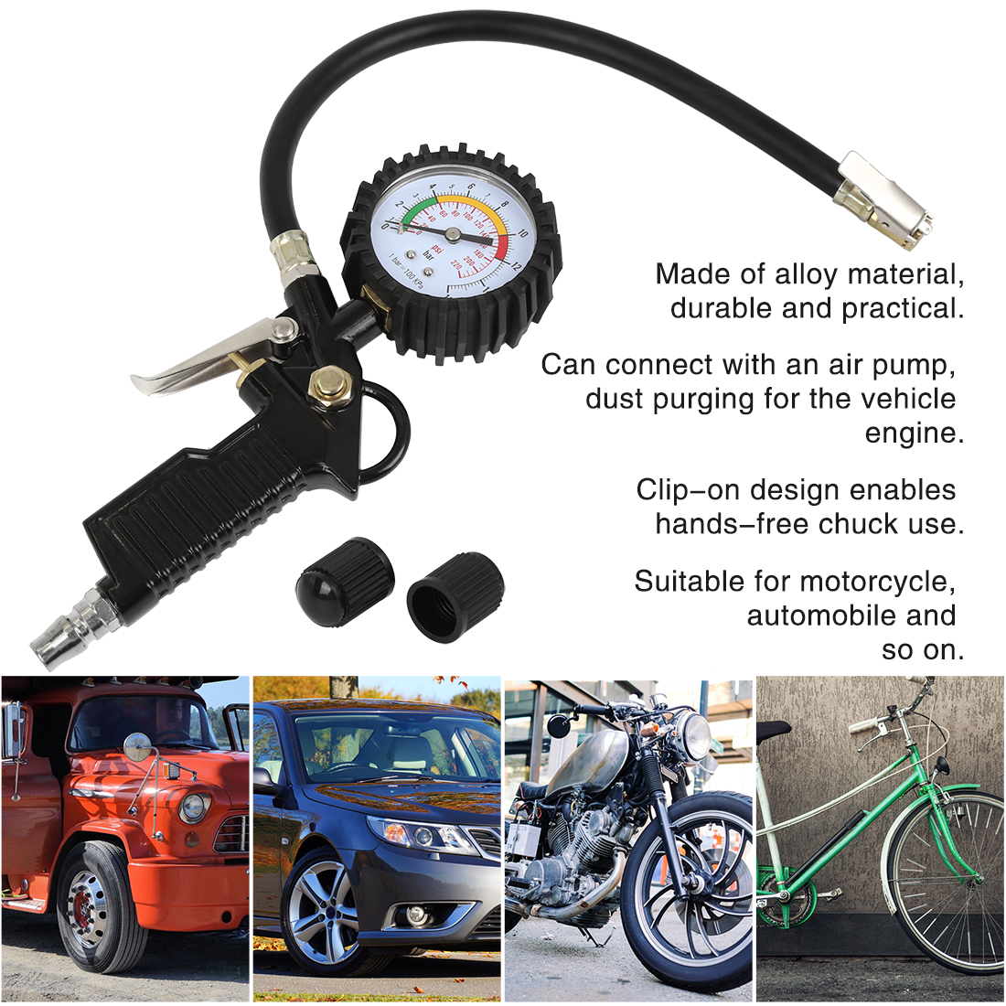 X AUTOHAUX 3 to 200PSI Portable Digital Tire Pressure Gauges Air Chuck Inflator with 4 Tire Valve Caps Universal Fit for Car Motorcycle Bike