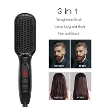3 in 1 Hair Straightener Brush Beard Straightener for Men Hot Comb Straight Comb Hair Styler Man Hair Straightener Brush Ionic