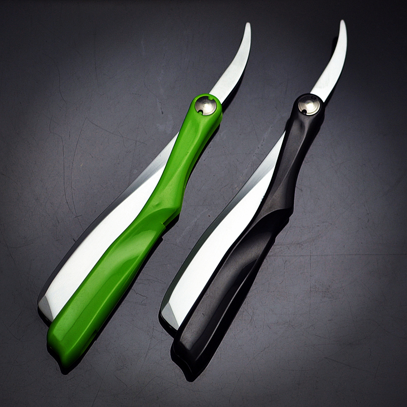 1 X Coloured Plastic Handle Straight Edge Razor Barber Folding Zinc Alloy Shaving Hair Tool With 10 Blades