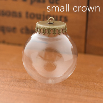 50sets 30x15mm glass globe with crown base set no filler glass globe set glass vial pendant  Jewelry Accessory