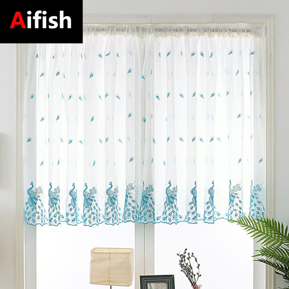 Embroidered Pink Peacock Sheer Curtain For Kitchen Windows Blue White Rod Pocket Short Sheer Voile Door Panel Cortinas DL081-3