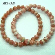 Meihan (54 sztuk/27 g/zestaw) 6.3 6.8mm A + naturalne argentyna Rhodochrosite gładkie okrągłe luźne koraliki do jwelry making