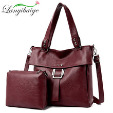 2 Pc/s Women Leather Handbags High Quality Purses And Handbags 2019 Female Soft Leather Shoulder Bag Sac A Main Tote Bags Women