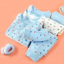 Детский комплект нижнего белья, хлопковое термобелье с принтом машины для мальчиков, домашняя одежда для малышей