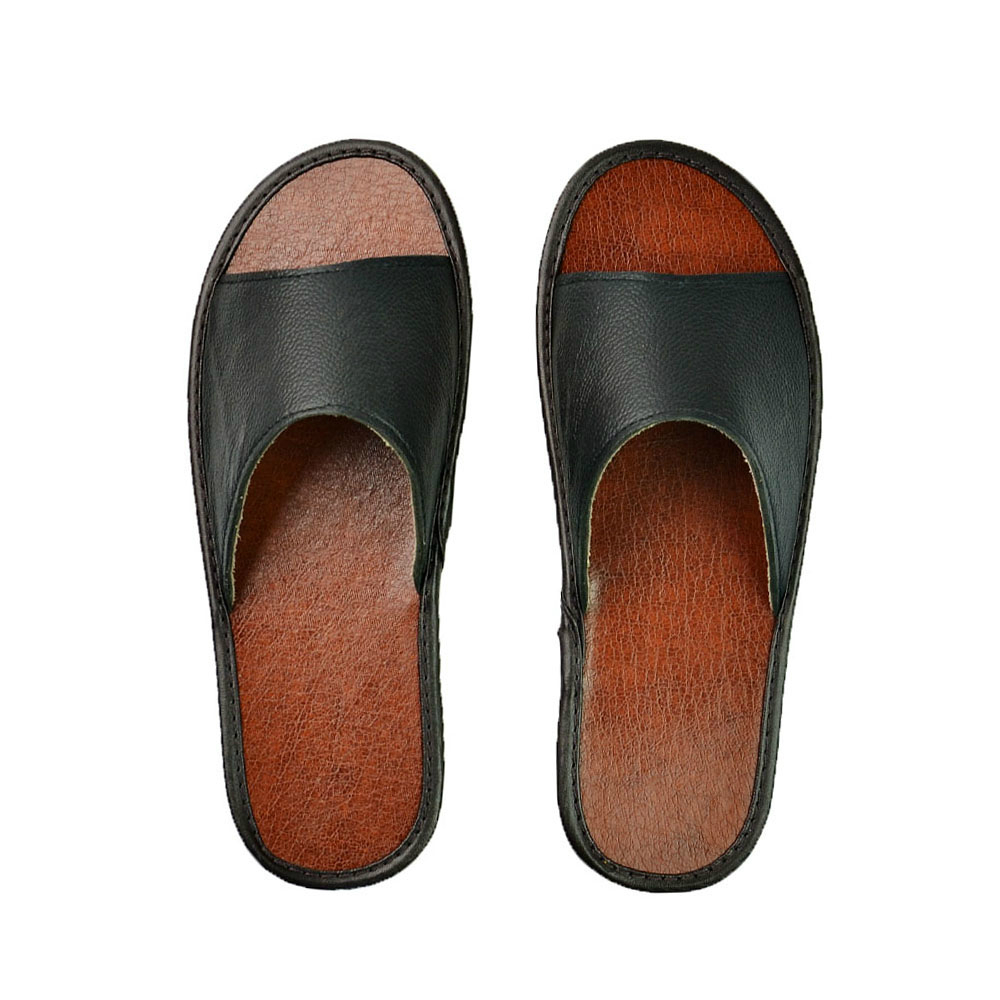 Genuine Cow Leather Slippers Couple Indoor Non-slip Men Women Home Fashion Casual Single Houese Shoes Soft Soles Spring Summer