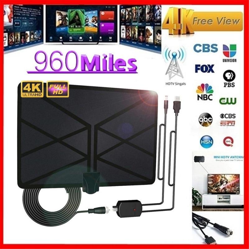 300 Miles Range Thin Flat Indoor Amplified Antenna HD HDTV High Def TV Fox Scout
