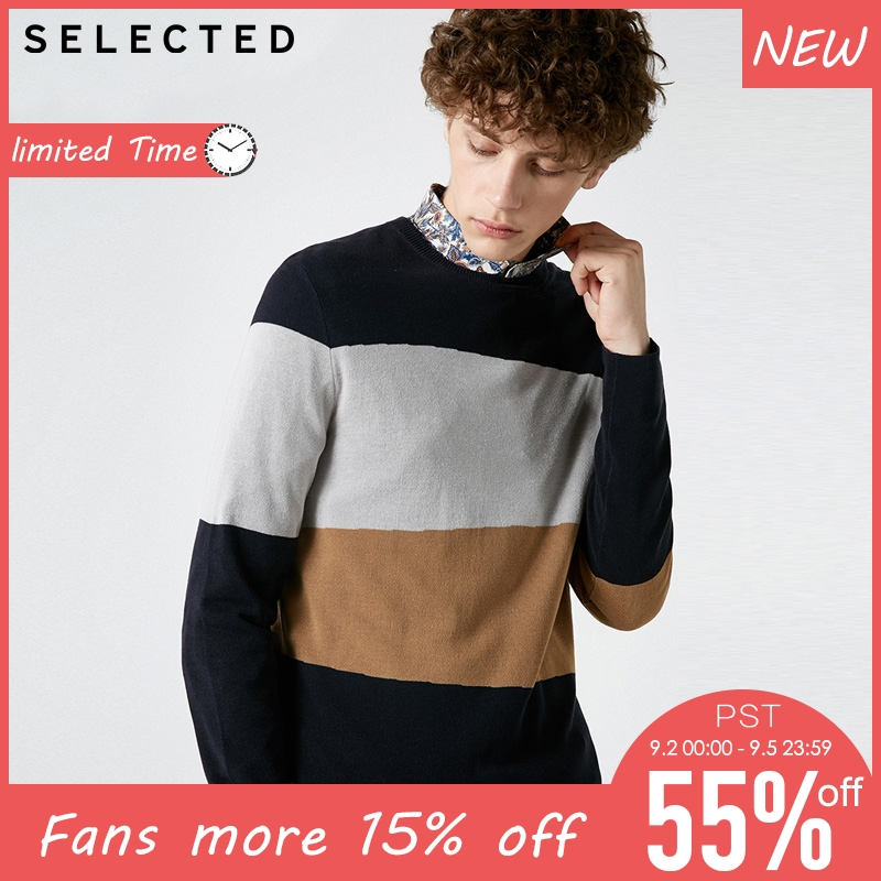 SELECTED Men Assorted Colors Striped Round Neck Casual Sweater| 418324529