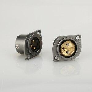 Image 2 - 1 pçs viborg cobre puro 24 k banhado a ouro xlr 3 pinos chassis fêmea painel montado soquete adaptador de solda