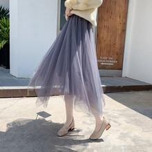 Women irregular Tulle Skirts Fashion Elastic High Waist Mesh Tutu Skirt Pleated Long Skirts Midi Skirt Femmle Mesh Tutu Skirt
