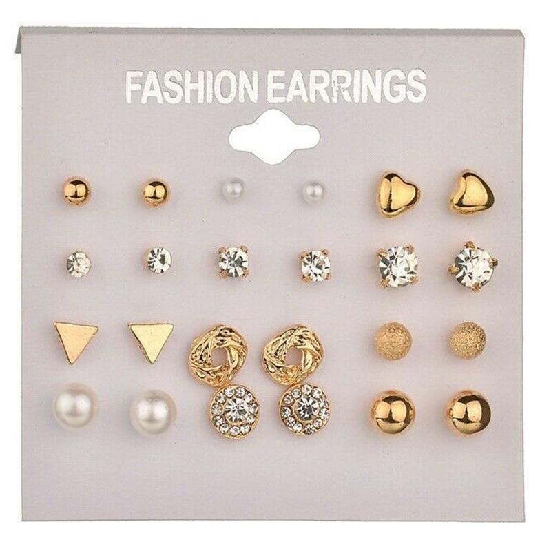 12 Pairs Elegant Zircon Crystal Stud Earrings Set for Women Fashion Ear Studs Jewelry Gold Heart Shape Stud Pearls Earring