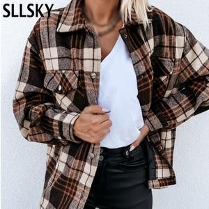 SLLSKY Plaid Women Shirt 2020 Autumn Loose Long Sleeve Single Breasted Pocket Female Top New Fashion Retro Casual Lady Chemise