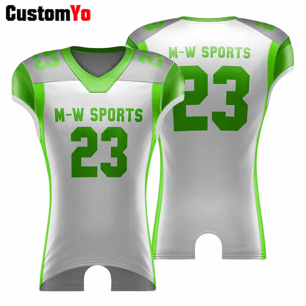 Green And White Football Shirt Custom Your Own Design American ...