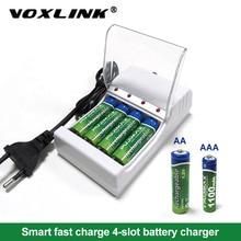 VOXLINK cargador de batería con 4 ranuras y cable europeo para AA/AAA, cargador de pilas recargables para cámara de micrófono con control remoto