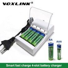 Voxlink 배터리 충전기 aa/aaa 충전식 배터리 용 eu 케이블로 4 개의 슬롯 원격 제어 마이크 카메라 용 충전기