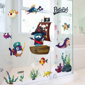 107*80CM Pirate Fish Wall Stic